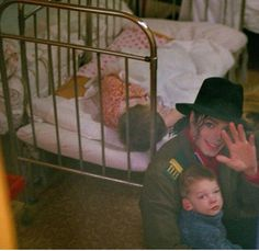 He's always there.. For the children of the world. Visiting an orphanage in Moscow ..