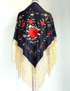 900112d41751 New Beautiful Large Spanish Flamenco Dance Shawl Black Red   Gold Fringe  Detail