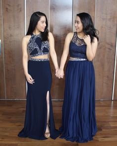 Caleon Twins twinning in navy two-piece prom dresses! Shop this prom dress trend at David's Bridal