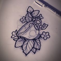 little teacup and strawberries. #teacup #teacuptattoo #tattoo #strawberries #strawberrytattoos #aceshightattoos #aceshightattooshop