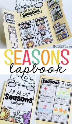 This lapbook stays relevant all year! You can complete the lapbook in one sitting and refer to it throughout the year or complete each season as it comes. My favorite part of this lapbook is the different season sections…the kids love it! Grab it for your 1st Grade Science, Kindergarten Science, Teaching Science, Science Activities, Kindergarten Classroom, Seasons Kindergarten, Preschool Seasons, Seasons Lessons, Seasons Activities