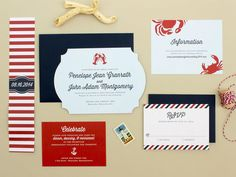 If you want traditional nautical wedding invitations, stick with a timeless palette of navy, red, and white. Especially if you are having a seafood dinner, use an icon like a crab or lobster (like this fetching example).
