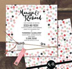 Confetti joy! coloured flat card invitation