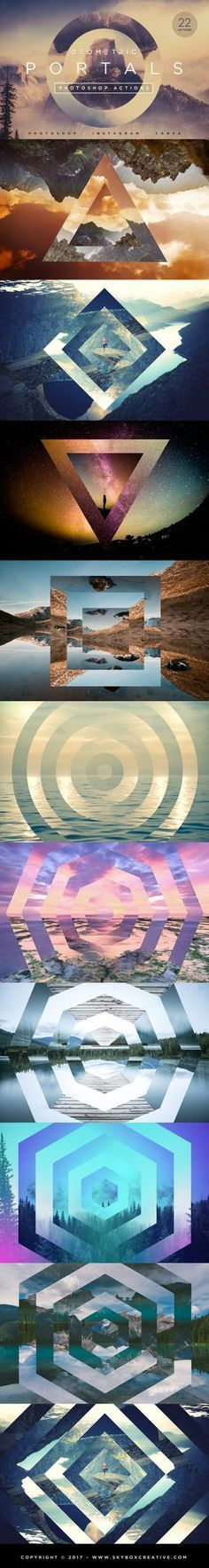 Geometric Portals Photoshop Actions includes 44 Photoshop Actions (Including our 22 Gradient Overlay BONUS Effects)!! Value $29 – NOW ONLY $15! Create stunning, interdimensional effects with this brand new set of Photoshop Actions! With just a single click, you can add depth, contrast and a powerful unique look to your design projects.