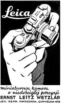 Miniaturowa kamera Leica - reklama prasowa, 1939 rok