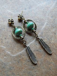 bohemian feather earrings turquoise brass feather by AJBcreations