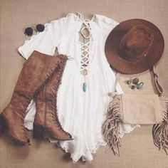 | White Bell Sleeve Romper | Brown Lace Up Knee High Boots | Brown Brim Hat | Creme Fringed Purse | Turquoise Necklace | Turquoise Rings | Circular Sunglasses |