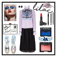 """""""Vibrant Eyes & Cool Lilac"""" by boutiquebrowser ❤ liked on Polyvore featuring Clu, Temperley London, Giorgio Armani, Lord & Berry, Gucci, Chiara Ferragni, NARS Cosmetics, Karl Lagerfeld and Astley Clarke"""