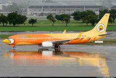 "Nok Air Boeing 737-8V3 HS-DBF ""Nok Sod Sai"" at Bangkok-Don Mueang, August 2013. (Photo: Teerawut W.)"