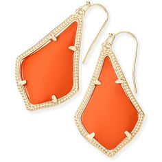 Kendra Scott Alex Earrings in Orange ($55) ❤ liked on Polyvore featuring jewelry, earrings, 14k earrings, orange earrings, kendra scott jewelry, 14 karat gold earrings and orange jewelry