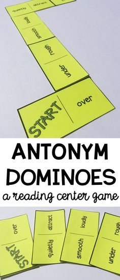 Synonym Dominoes Reading Center - Fun and engaging activity for building vocabulary and reading and understanding words with similar meanings. 4th Grade Centers, 4th Grade Ela, Grade 3, Second Grade, Synonym Activities, Reading Activities, 4th Grade Reading Games, Student Reading, Teaching Reading