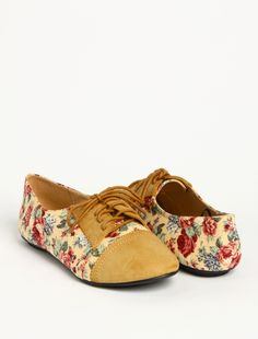 Tan and floral oxford flat. .
