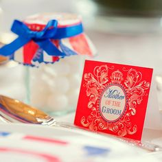 Cool Britannia, red white and blue patriotic themed wedding stationary and styling by Dottie Creations. Table setting name card http://www.dottiecreations.com/QUIRKY_460061.html