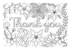 Danke  Malseite für Erwachsene  Malseiten zum von Fleurdoodles