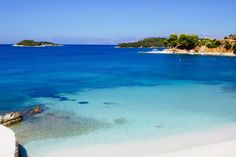 Ksamil Beach in Albania with the islands in the distance