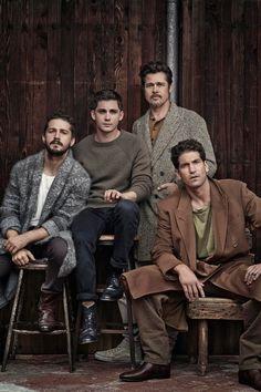 Brad Pitt, Shia LaBeouf, Logan Lerman, and Jon Bernthal in Fury Logan Lerman, Jon Bernthal Fury, Fury 2014, Fashion Foto, Ben Barnes, Jolie Photo, Mans World, Jeremy Renner, Cute Guys