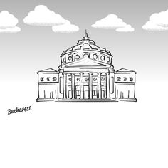 Lineart drawing by hand. Greeting card icon with title, vector illustration. Egg Tart, Bucharest Romania, Famous Landmarks, Insta Story, Sketching, Travel Photos, Journaling, Artworks, Highlights