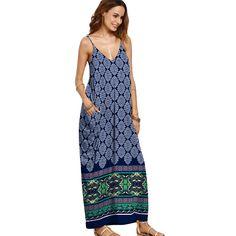 10.79$  Watch more here - New Summer Long Beach Dresses Women V-neck Spaghetti Strap Sleeveless Print Boho Maxi Dress    #SHOPPING