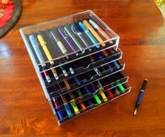 Simple Fountain Pen Chest : 7 Steps (with Pictures) - Instructables Glass Bottles, Plastic Bottles, Book Page Roses, Origami Dragon, Pen Collection, Plastic Drawers, Hobby Supplies, Custom Pens, Painted Wine Glasses