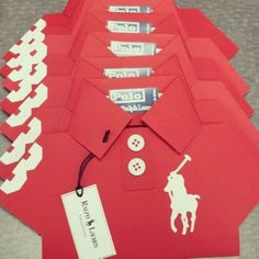 EMP ABSOLUT CREATIONS. .Red and white polo baby shower invites.