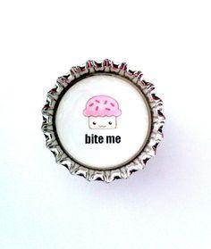Bottle Cap Magnet  Cupcake Bite Me   by SimplyCBoutique, $1.50