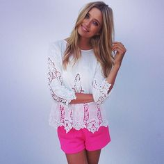 lace shirt with hot pink shorts  Saboskirt.com