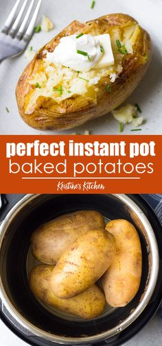 Perfect Instant Pot Baked Potatoes Perfect Instant Pot Baked Potatoes How to cook Baked Potatoes in your Instant Pot! A foolproof recipe for easy pressure cooker baked potatoes, plus how to make Instant Pot baked potatoes with crispy skins. Pressure Cooker Baked Potatoes, Cooking Baked Potatoes, Baked Potato Recipes, How To Cook Potatoes, Cook Baked, Healthy Baked Potatoes, Easy Baked Potato, Chicken Recipes, Cooking Corn
