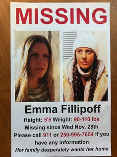 Emma Fillipoff - Nov 2012 disappearance remains a mystery. Family has hired a Vancouver based PI now to help find Emma. Victoria Police, 110 Lbs, The Empress, Shit Happens, Facebook, Mysterious, Vancouver, Wednesday, Mystery