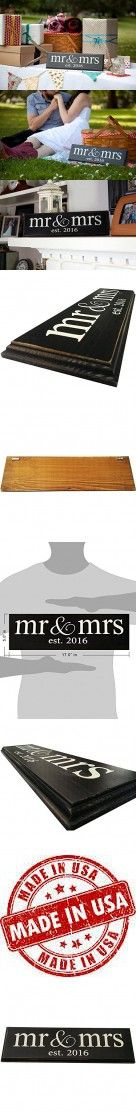 Mr & Mrs Est. 2016 Vintage Wood Sign for Wedding Decoration, Prop, Gift or Wall Decor -- PERFECT WEDDING GIFT! (lowercase)