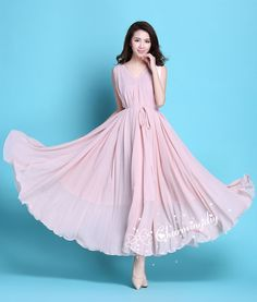 60082aa91a8 90 Colors Chiffon Pink Long Party Dress Evening Wedding Sundress Maternity  Dress Summer Holiday Beac
