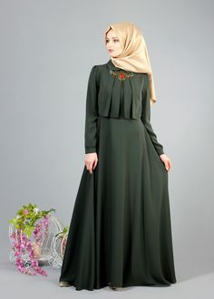 Discover thousands of images about T 2153 Tuay Pelerinli Bebe Yaka Elbise - HAKİ - Trend Tesettür Abaya Fashion, Modest Fashion, Girl Fashion, Fashion Dresses, Fashion Cape, Fashion Ideas, Long Skirt Fashion, Womens Fashion, Abaya Mode