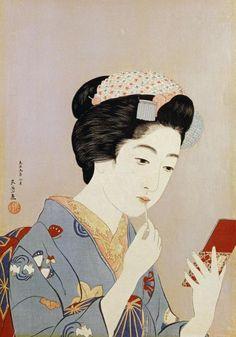 Hashiguchi Goyo - A Maiko Applying Rouge To Her Lips - Fine Art Print