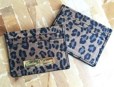 Sueded Leopard Print Leather Slim Wallet / Card by CarlenManasseNY
