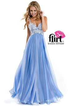 Flirt introduces a lace bodice dress with full chiffon skirt and tank straps. See the dress!
