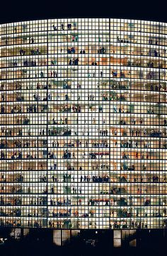 Andreas Gursky is a German visual artist known for his enormous architecture and landscape color photographs, often employing a high point of view. What an amazing photograph.