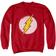 If you're looking for a great sweatshirt to wear before, during or after a workout that involves speed then you'll love wearing this Flash Distressed Logo Mens Crewneck Sweatshirt. It won't shrink and