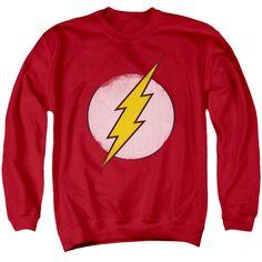 The Flash Distressed Logo Mens Crewneck Sweatshirt