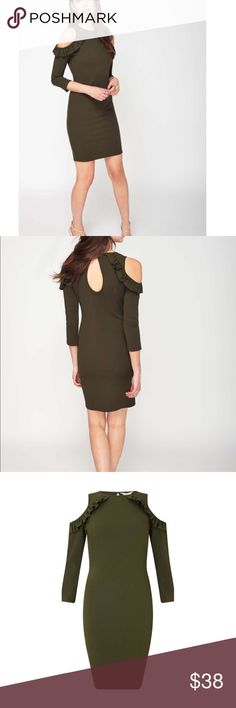 Forest Green Cold Shoulder Bodycon Dress Forest Green Cold Shoulder Dress  This 3/4 sleeved stretchy dark green dress with on trend cold shoulder detail is perfect for after work drinks with heels. Bodycon Fit Mini Dress Stretch Fabric Cold shoulder, 3/4 sleeve 94% Polyester,6% Elastane. Machine washable Miss Selfridge Dresses