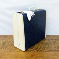 1950s Two Tone Blue & Whte Samsonite Ultralite Suitcase by leapinglemming on Etsy