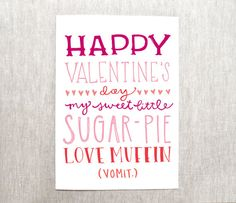 funny valentine's day card - recycled paper on Etsy, $4.00