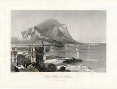 1880 Fine Antique Steel Engraving of Monte Pellegrino | Full Image