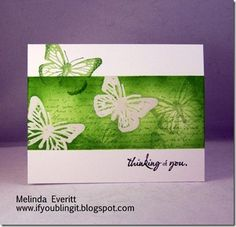 In green butterfly card