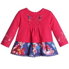 Little girls, pretty dark pink, long sleeved top by Catimini made from soft cotton.