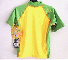 ❗ NEW LISTING 3.50 @SalesForToday   SunSkinz Rash Guard Sz 8 Short Sleeve Swim Top Green Yellow UV Protection