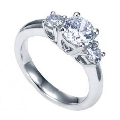 Gabriel and Co Contemporary Three Stone Semi-Mount Engagement Ring made of 14K White Gold style ER3813W44JJ. Stunning insanely beautiful ring made with side-stones of .40 carat sparkling diamonds.