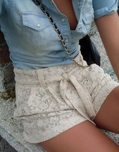 Lace shorts, jean button up.
