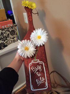 alpha phi big little flower mason jar paddle