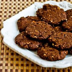 Recipe for Whole Grain Low-Sugar (or sugar-free) Chocolate Cookies with Pecans.  You can make these with a small amount of brown sugar, or use all sweetener; your choice.  [from Kalyn's Kitchen] #LowSugarChristmasCookies