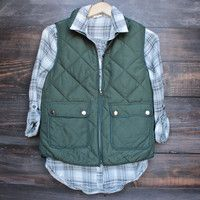 city strut quilted puffer vest - green
