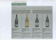 South African Chardonnays from Neil Ellis and Saxenburg highly rated in Sunday Times 1 Dec 2013.